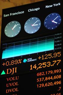 ダウ工業株30種平均など指標を表示するニューヨーク証券取引所内のボード【2013年3月撮影】