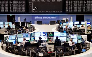 フランクフルト証券取引所の内部【2015年8月撮影】