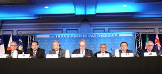 TPP交渉の大筋合意を発表する米通商代表部(USTR)代表ら(米アトランタ)【2015年10月撮影】