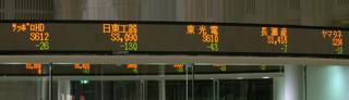 株価の頭に売買停止を示すローマ字の「S」がついた電光掲示板(東京・中央区の東京証券取引所)【2006年1月撮影】