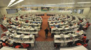 香港の証券取引所フロア【2008年6月撮影】