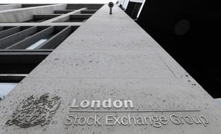 ロンドン証券取引所に掲げられているロゴマーク(イギリス・ロンドン)【2008年10月撮影】